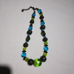 Jewelry - Green/ Blue & Metal beaded Necklace